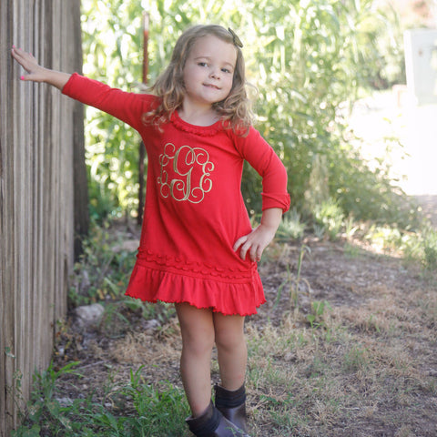 Monogrammed Thanksgiving Christmas dress - Red and Gold.