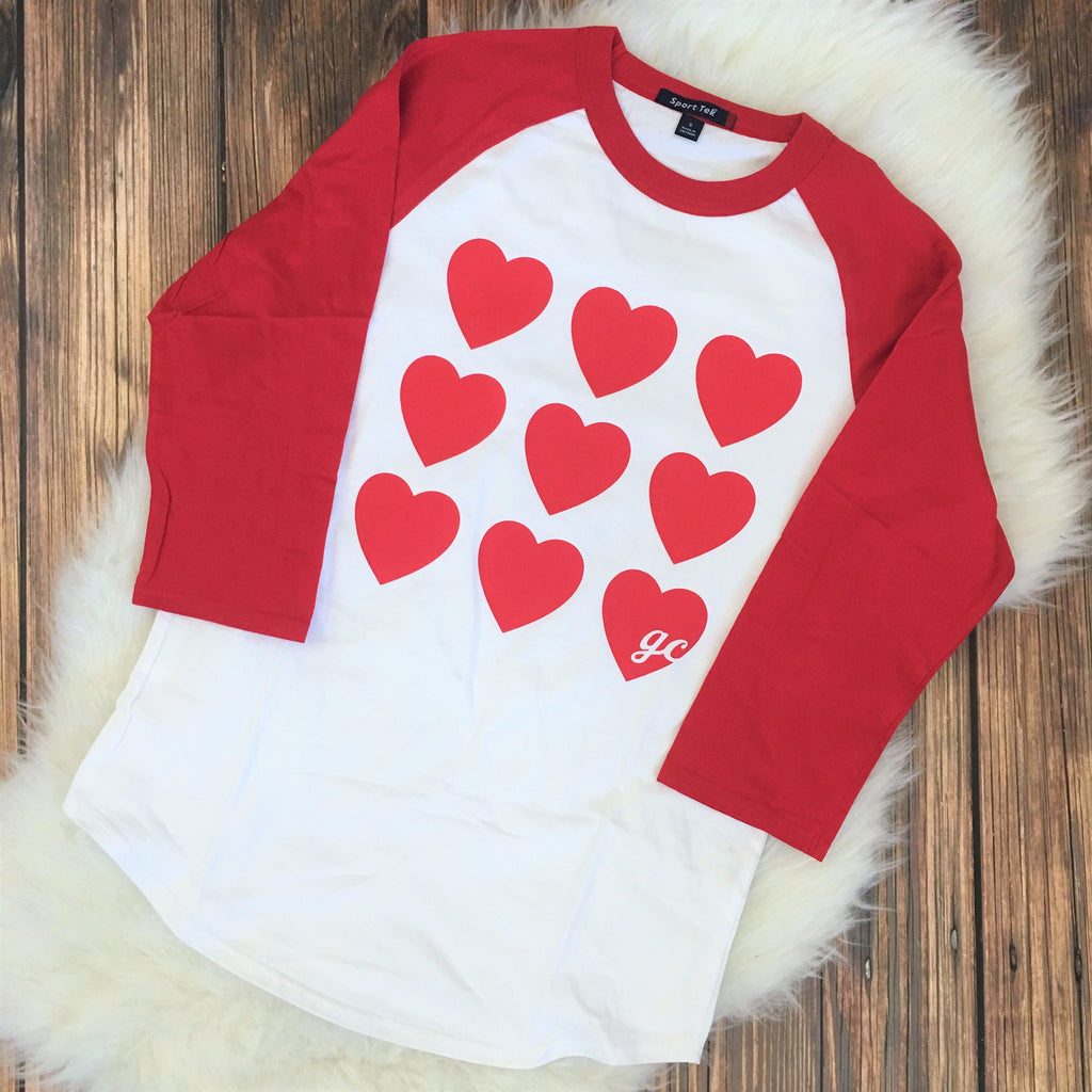 Many Hearts Women's Raglan