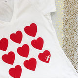 Women's Valentine's Day Tri Blend short sleeve, v-neck with Many Hearts Signature design.