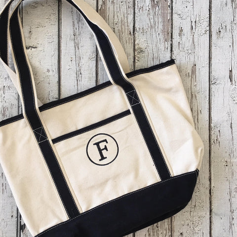 Monogram Cotton Canvas Boat Tote - 2 Sizes & Many Colors!