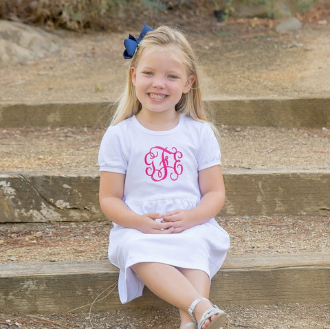 Monogram Classic White Dress for Little Girl.