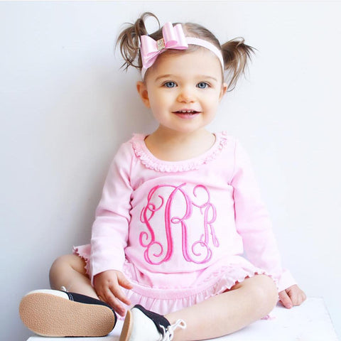 Monogrammed Light Pink dress for baby, toddler, girl. Spring Clothing Light Pink Ruffle dress with Embroidered monogram.