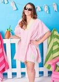 PomPom Beach Cover Up - Pink & Green - Women's