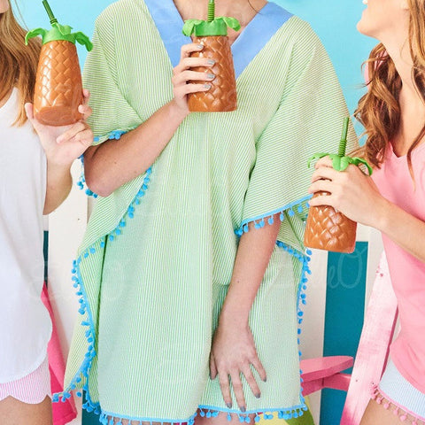 PomPom Beach Cover Up - Green & Blue - Women's
