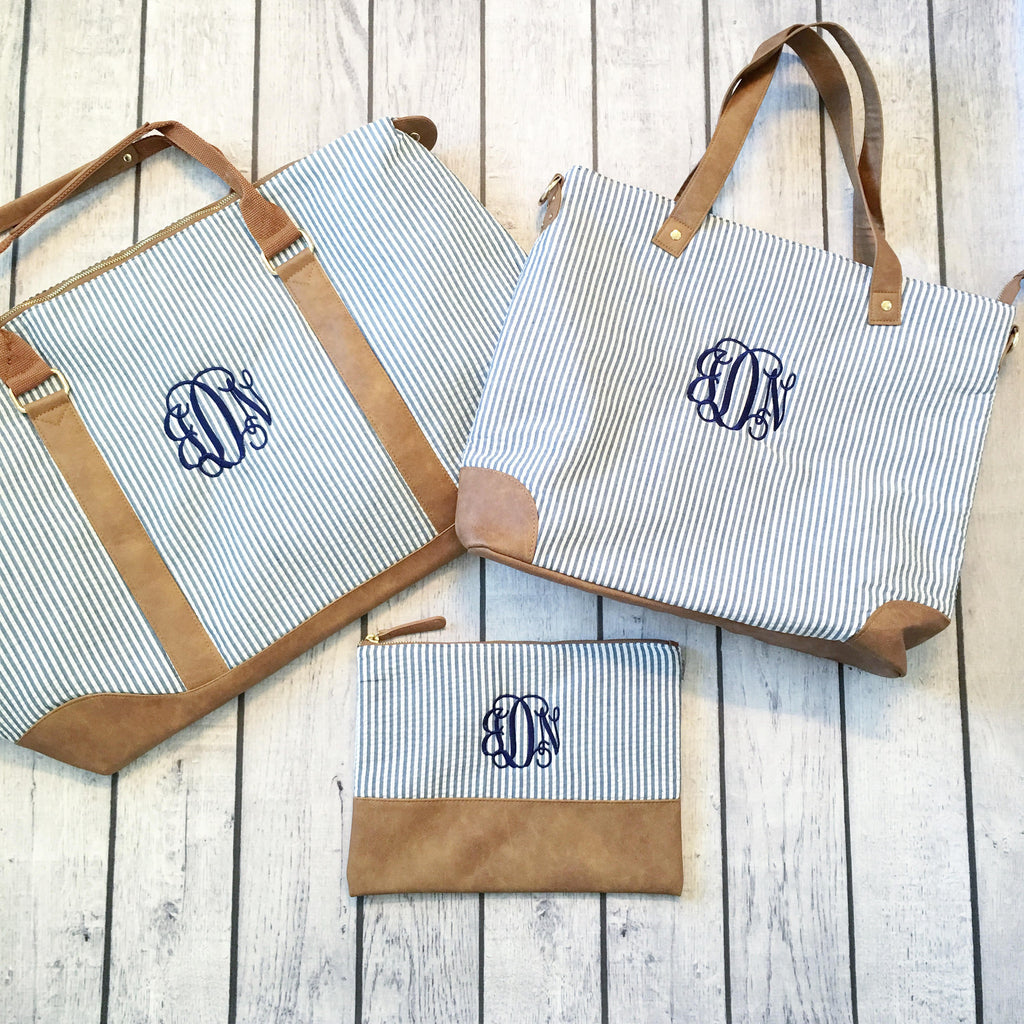 Seersucker Bundle - Monogrammed Weekender Bag, Shoulder Bag & Zip Pouch