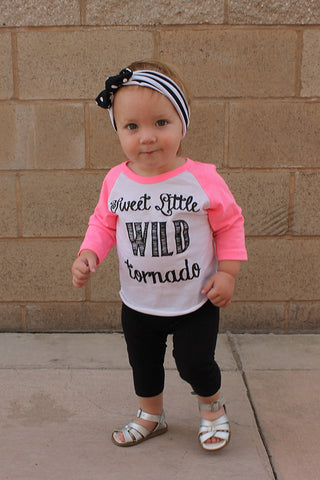 Sweet Little Wild Tornado Raglan Graphic Tee - Neon Pink