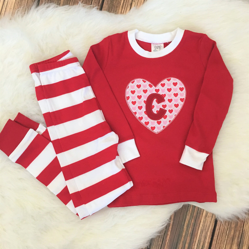 monogrammed valentines pajamas with heart