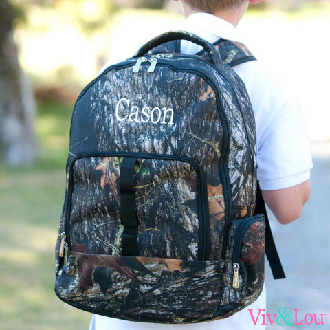 Camo Woods Monogrammed Backpack