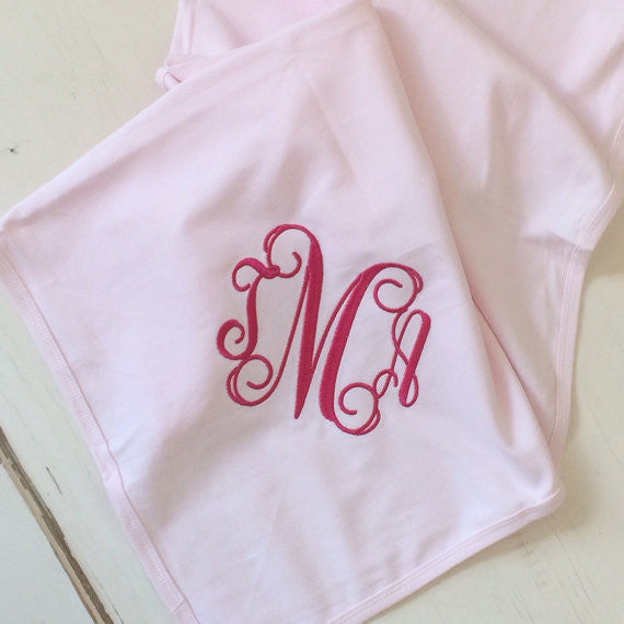 Monogrammed Cotton Baby Receiving Blanket in Pink, Blue or White