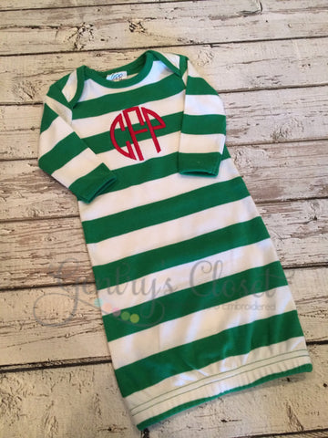 Christmas Gown. Infant / Baby Monogrammed. Personalized Baby's 1st Christmas.