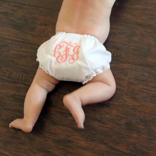 Monogrammed Baby Girl Bloomers, Ruffle - Bottom Diaper Cover