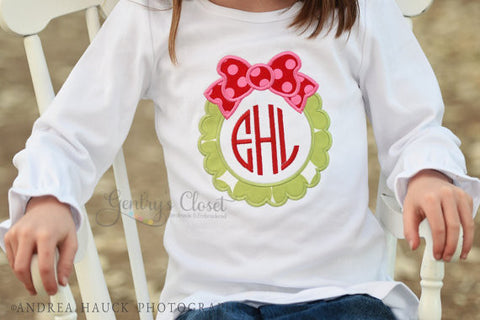 Christmas ruffle shirt. Holiday Appliqued or Embroidered Xmas tshirt. Babies, toddler, children. Holiday Wreath Monogrammed Boutique Shirt.