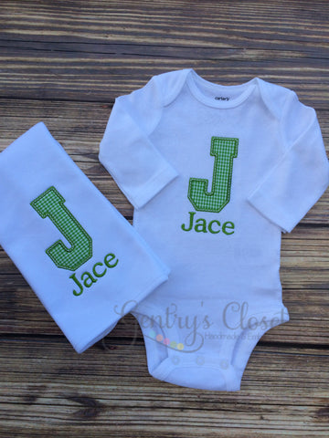 Monogrammed Baby Boy Layette Set