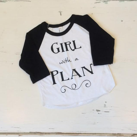 Girl with a Plan Graphic Raglan Baseball Tee - Black or Neon Pink