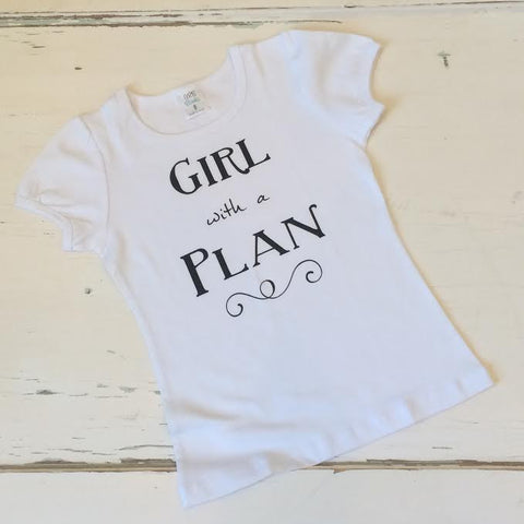 Girl with a Plan Graphic Shirt - White