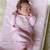Monogrammed Pink Baby Gown with Ruffle Detail