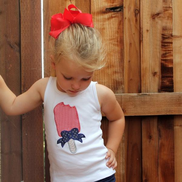 Child's 4th of July Popsicle Top + Personalization Option