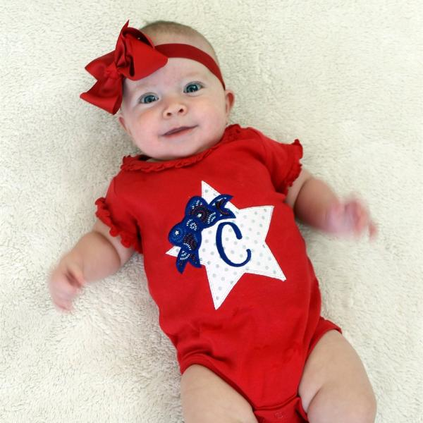 Baby Girls' 4th of July Star Monogrammed Bodysuit