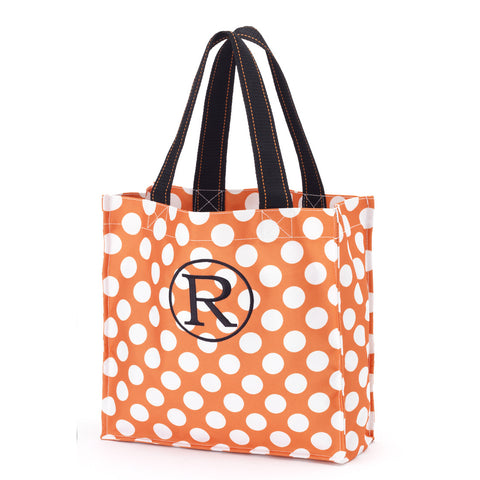 Monogrammed Halloween Treat Bag. Orange Polka Dot.