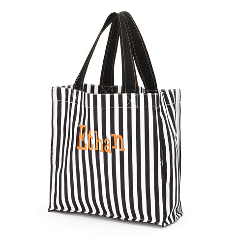 Monogrammed Halloween Treat Bag. Black Stripe.
