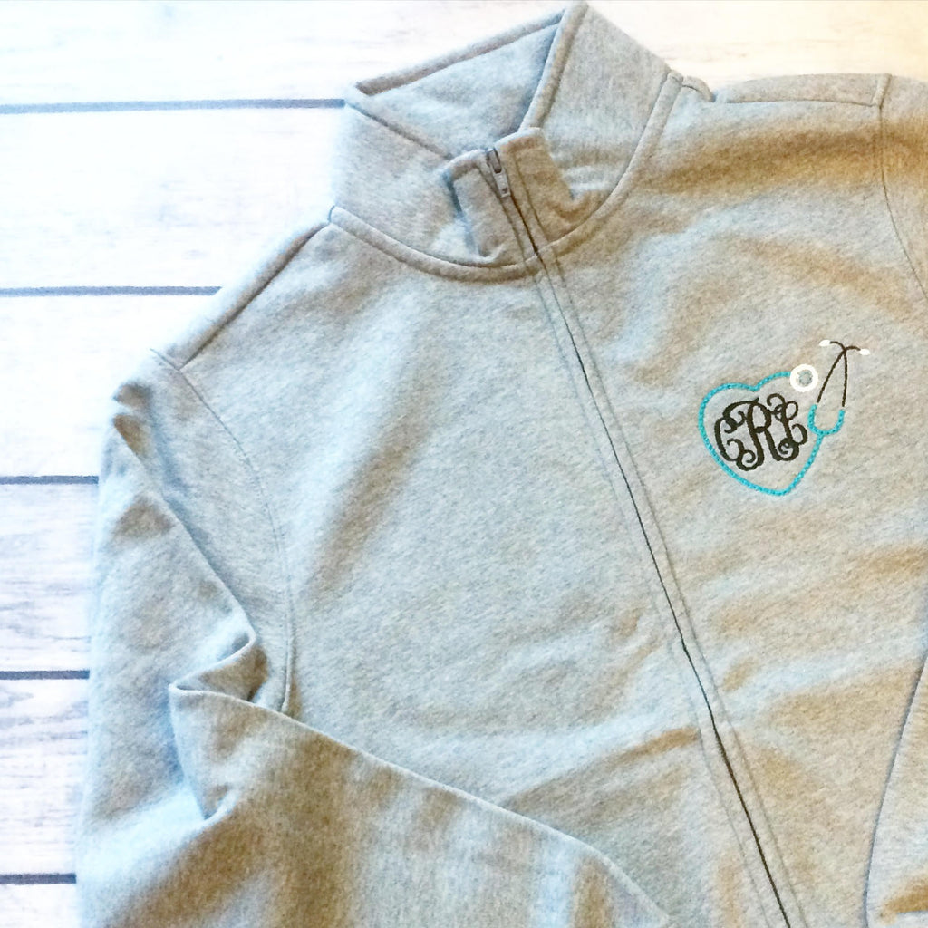 Nurse or Doctor Monogrammed Full Zip Cardigan Sweatshirt