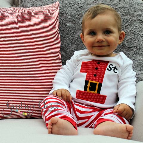Baby's 1st Christmas Shirt or Infant Bodysuit. Santa Belt First Christmas. Appliqued Xmas outfit. Holiday Pictures with Santa