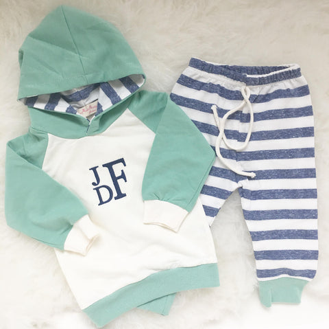 Monogrammed Hoodie and Pant Set - Blue & Green