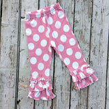 Girls' Double Ruffle Pink Polka Dot Pants