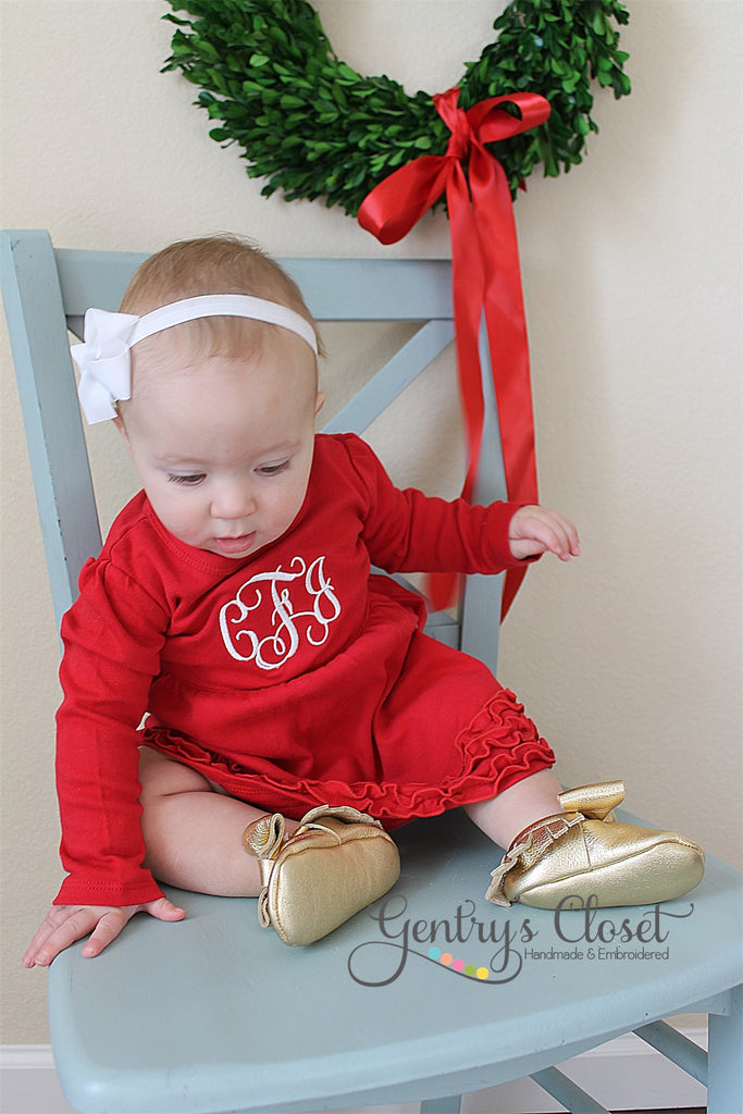 Christmas Dress with Embroidered Monogram. Red Ruffle dress for ...
