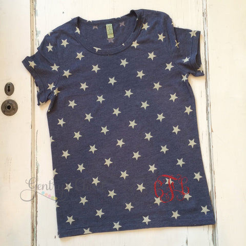 Women's Patriotic Star Shirt with Red Glitter Monogram for 4th of July