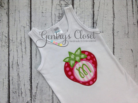 Girls' Monogrammed Strawberry Tank Top