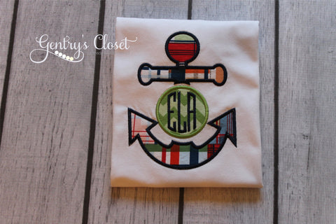 Monogrammed Plaid Anchor Top for Boys