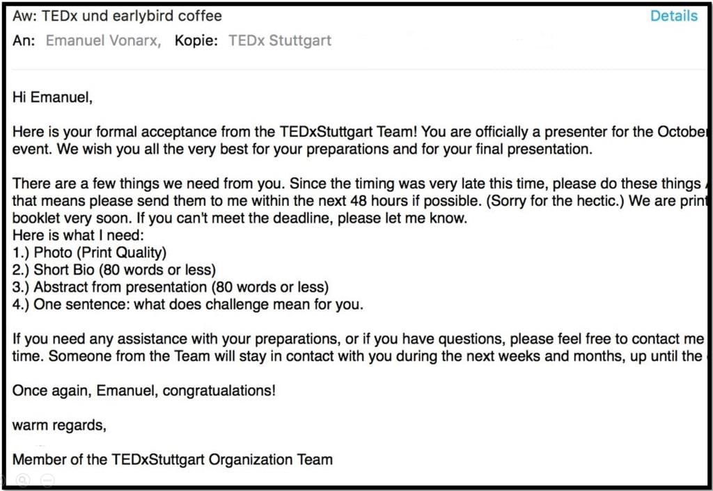 TED email earlybird