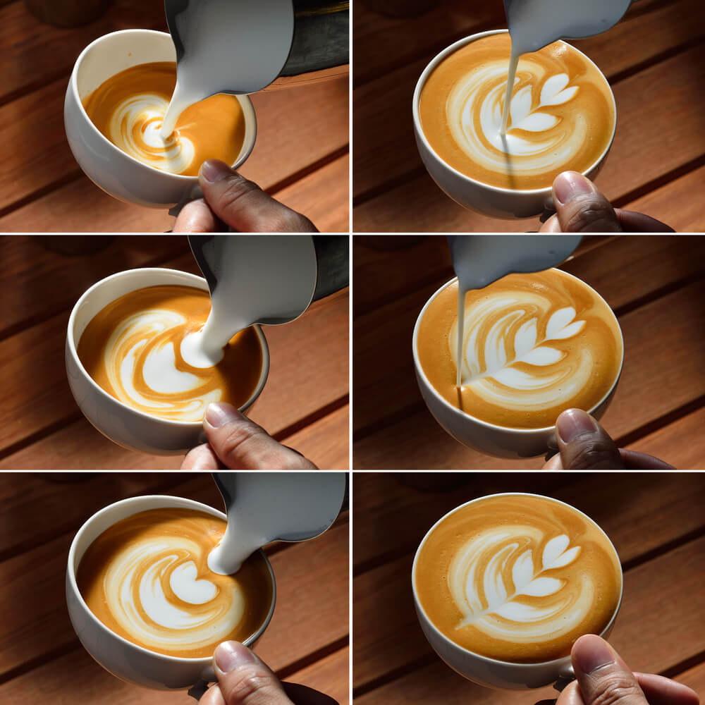 Latte Art Milch in Kaffee earlybird coffee