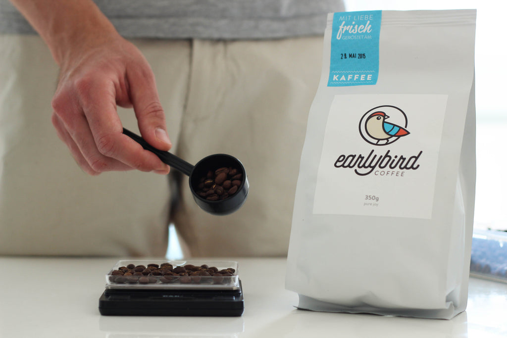 earlybird coffee AeroPress 15 Gramm Kaffee abwiegen
