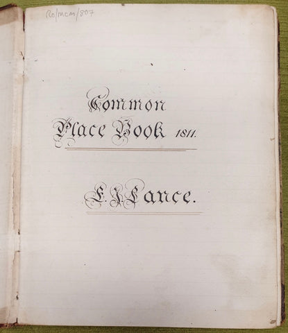 A Curious Manuscript Commonplace Book [1811-1816].