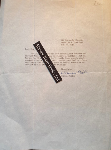 Mailer, Norman. [Autograph Letter To Mr Bradshaw].[142, Columbia Heights, Brooklyn]:[June 8th, 1965].