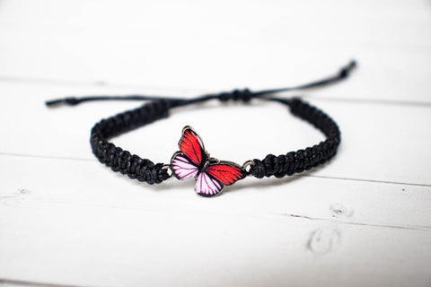 Red and Pink Butterfly Bracelet