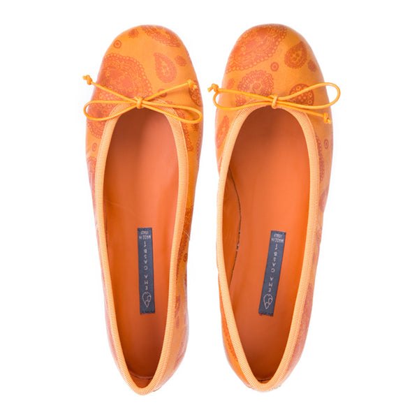 Ema Gasbi Ethnochic Flat Shoes Ballerina Pump Nepal Orange