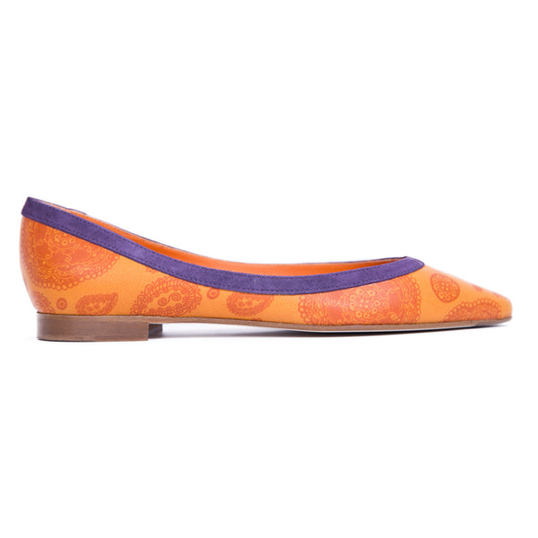 Ema Gasbi Ethnochic Flat Shoes Ballet Nepal Orange