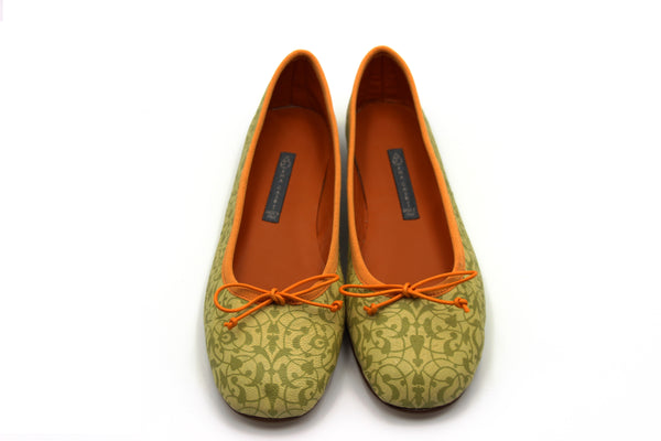 CLASSICA | genuine 100% leather Ballerina Pump Lime green with orange profile, Classica ballerina 100% pelle