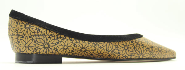 TOSCA | Ballet Flats Beige 100% genuine leather in Beirut pattern and Black profile