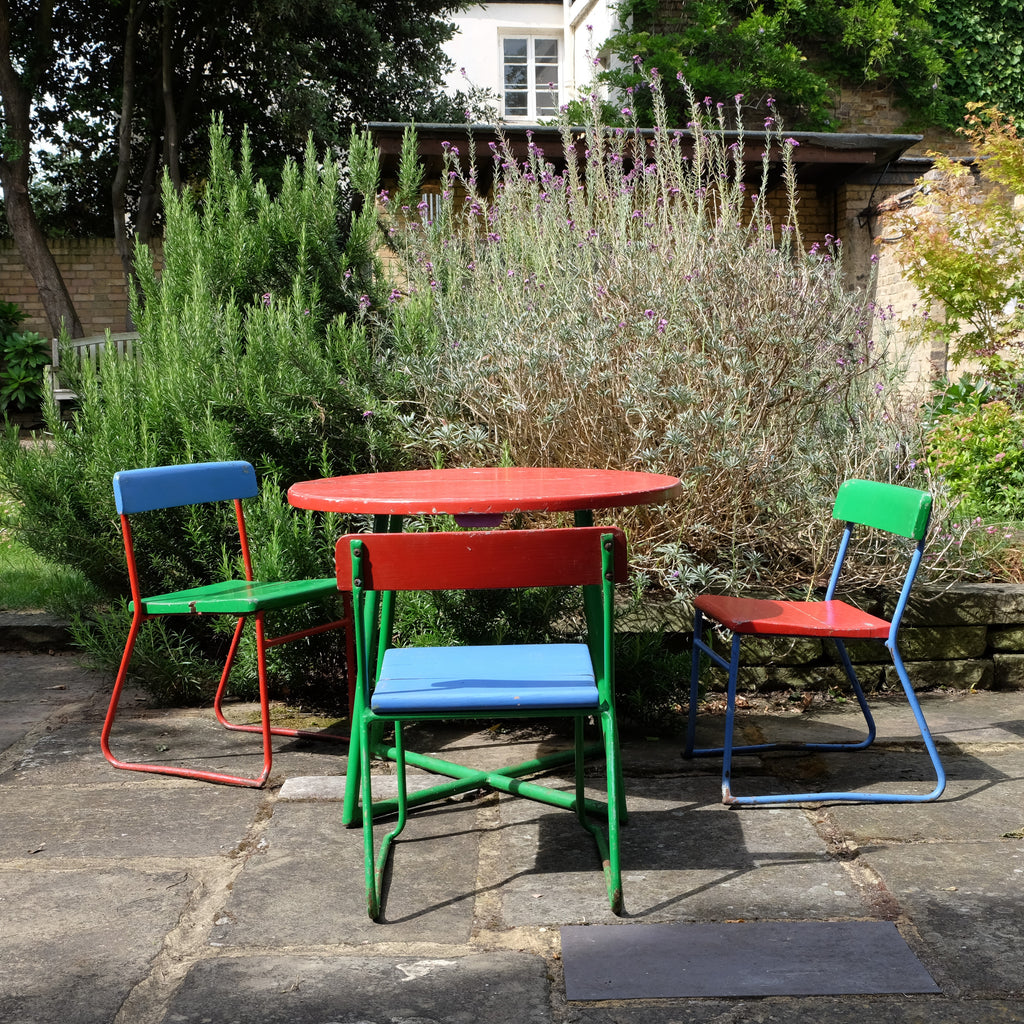 Beautiful Red Green and Blue Kid's Table and Chairs