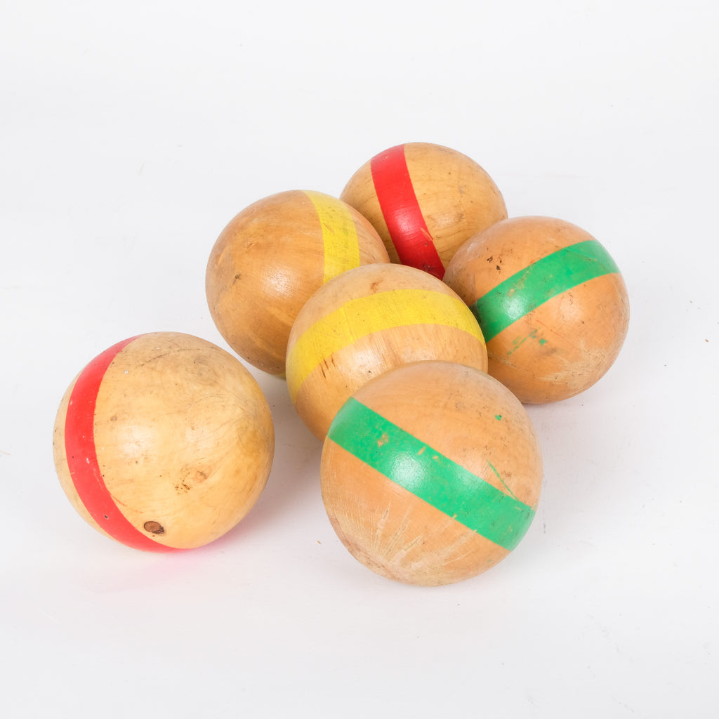 Colourful Wooden Striped Balls