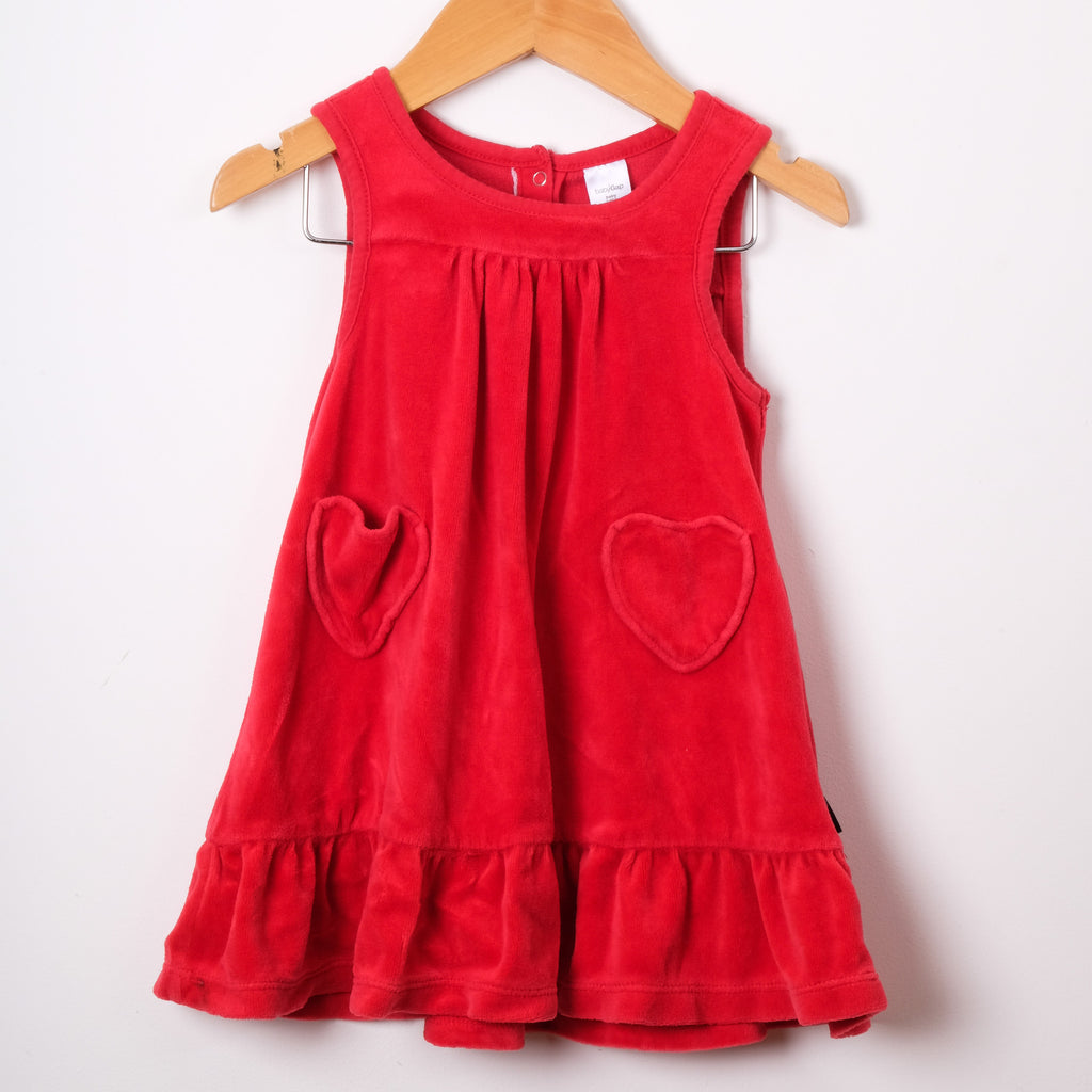 Baby Gap Red Velour Heart Dress