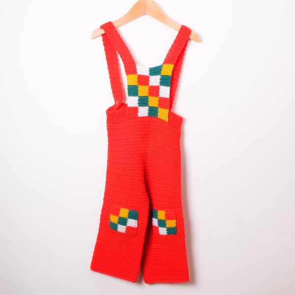 Red Hand Crocheted  Dungarees