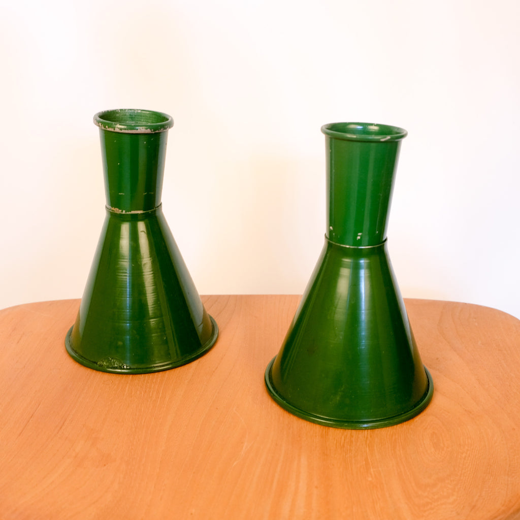 Green Enamel Flower Vases