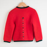 Swiss Red Wool Cardigan