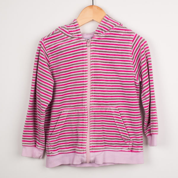 Velour Striped Zip Top