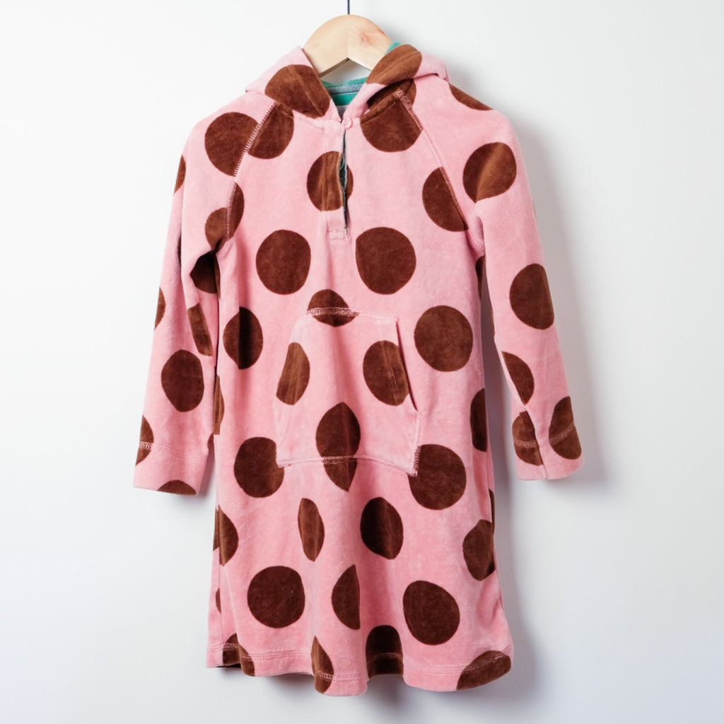 Mini Boden Velour Spotty Dress